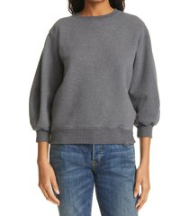 agolde thora puff sleeve sweatshirt, size small in graphite heather at nordstrom