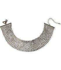 "thalia sodi silver-tone rhinestone multi-row choker necklace, 13"" + 3"" extender, created for macy's"
