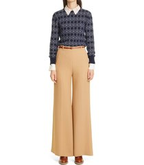 women's chloe double face flare crepe trousers, size 6 us - beige