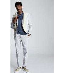 reiss duchie - merino wool open collar polo shirt in airforce blue, mens, size xxl