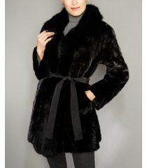 the fur vault fox-fur-trim mink fur reversible coat