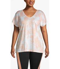 lane bryant women's active strappy-back tie-dye tee 26/28 peach nectar