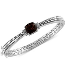effy smoky quartz (3-9/10 ct. t.w.) & diamond (1/20 ct. t.w.) bangle bracelet in sterling silver