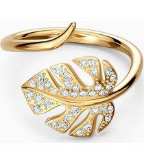 anillo tropical leaf open ring, dorado, baño en oro 5535563