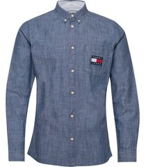 tjm chambray badge shirt overhemd casual blauw tommy jeans
