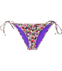 la doublej string floral print bikini bottoms - black
