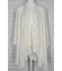 lee andersen idyllic jacket tissue crinkle knit lace flower ivory nwt m l