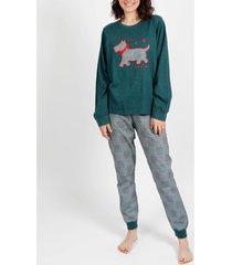 pyjama's / nachthemden admas homewear pyjamabroek loulou britse groene adma's