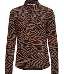milly shirt aop 7201 blouse lange mouwen bruin samsøe & samsøe