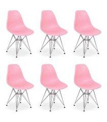 conjunto 06 cadeiras charles eames eiffel base metal design - rosa