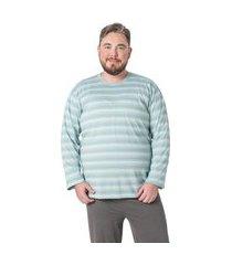 pijama longo listrado verde masculino plus size - t. man