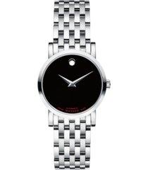 movado women's swiss automatic red label stainless steel bracelet watch 26mm
