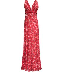 giovanni bedin viscose long dress with floral print