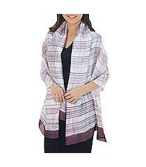 rayon and silk blend shawl, 'mangosteen plaid batik' (thailand)