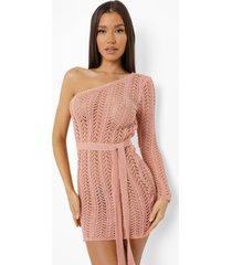 gehaakte asymmetrische glitter mini jurk, pink