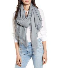 women's la fiorentina fringe trim modal scarf, size one size - grey