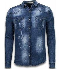 denim shirt - spijkerblouse slim fit long sleeve