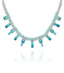 guess silver-tone and blue ombre stone woven collar necklace