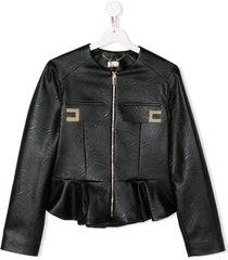 elisabetta franchi la mia bambina teen textured peplum hem jacket -