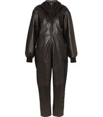 montana hooded leather jumpsuit - black