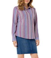 women's liverpool stripe button back shirt