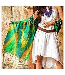 varanasi silk shawl, 'cool color fusion' (india)