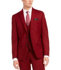 bar iii men's slim-fit red flannel suit separate jacket, created for macy's