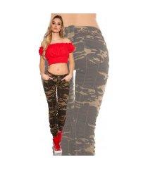 sexy skinny jeans in military-look leger-kleurig