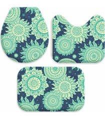 kit 3 tapetes decorativos para banheiro wevans abstrato turquesa - azul - dafiti