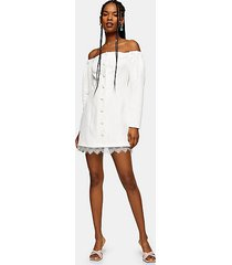 ecru lace bardot mini dress - ecru