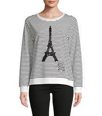 striped cotton-blend sweatshirt