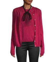 redvalentino women's cardigan & tank twin set - cherry - size s