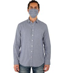 kit camisa casual cuadros slim fit y tapabocas para hombres 96989