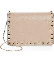women's valentino garavani rockstud leather pouch wallet on a chain - beige