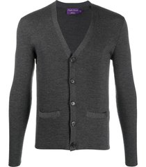 ralph lauren purple label button-down knit cardigan - grey