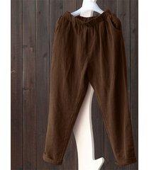 vintage pantaloni con tasche in caffè puro