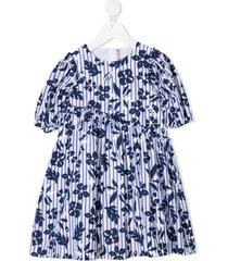 il gufo stripe floral print dress