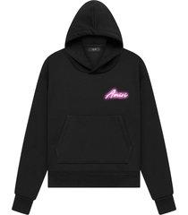 harcdore logo hoodie black