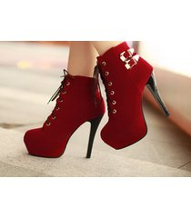 pb194 cute double buckles martin booties us size 4-8.5, red