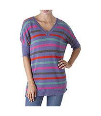 alpaca blend sweater, 'pleasure of periwinkle' (peru)