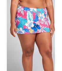 lane bryant women's slitted swim skirt 16 hibiscus tropics