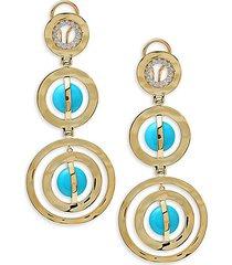 18k yellow gold, turquoise & diamond drop earrings