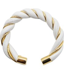 bottega veneta white braided leather and gold plated silver bracelet