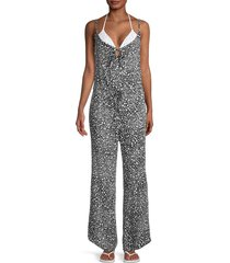 chaser women's heart-print cami jumpsuit - heart print - size m
