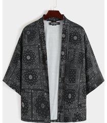 kimono informal de verano para hombre túnica cárdigan de protección solar tribal retro suelto