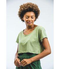 cropped t-shirt podrinho eco verde escuro - kanui
