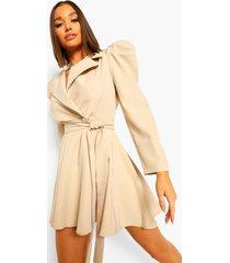 getailleerde blazer jurk met geplooide mouwen, sand