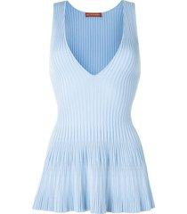 altuzarra flared ribbed-knit vest top - blue