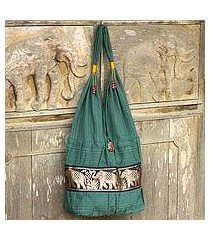 cotton shoulder bag, 'emerald thai' (thailand)