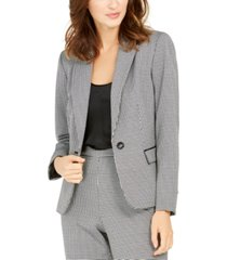 nine west houndstooth one-button blazer
